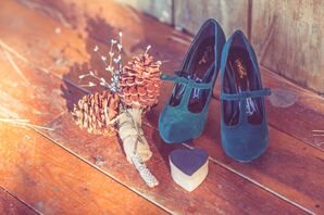 Green Shoes and Pinecone Bouquet