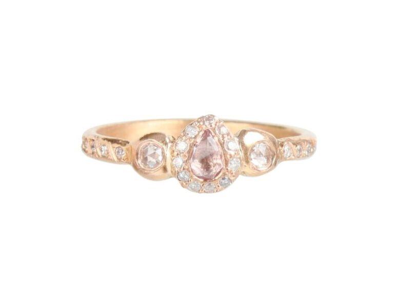 Eliza Solomon Pavlova pink sapphire ring with white diamond melee in 18K rose gold