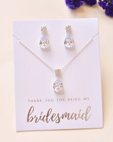 Dareth Colburn Simple CZ Bridesmaid Pendant Set (JS-1686-BR) Wedding Necklace photo