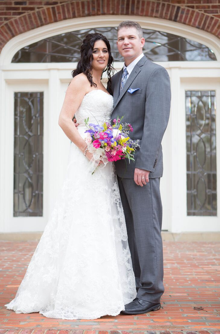 """I was having a hard time narrowing down the dresses I liked because I hadn't allowed myself to really connect with the dresses,"" says Tricia. ""I thought about Matt, the chapel, walking down the aisle and then I knew exactly what dress I wanted."""