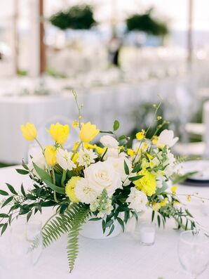 Modern Centerpiece with Roses, Dahlias and Neon Yellow Tulips