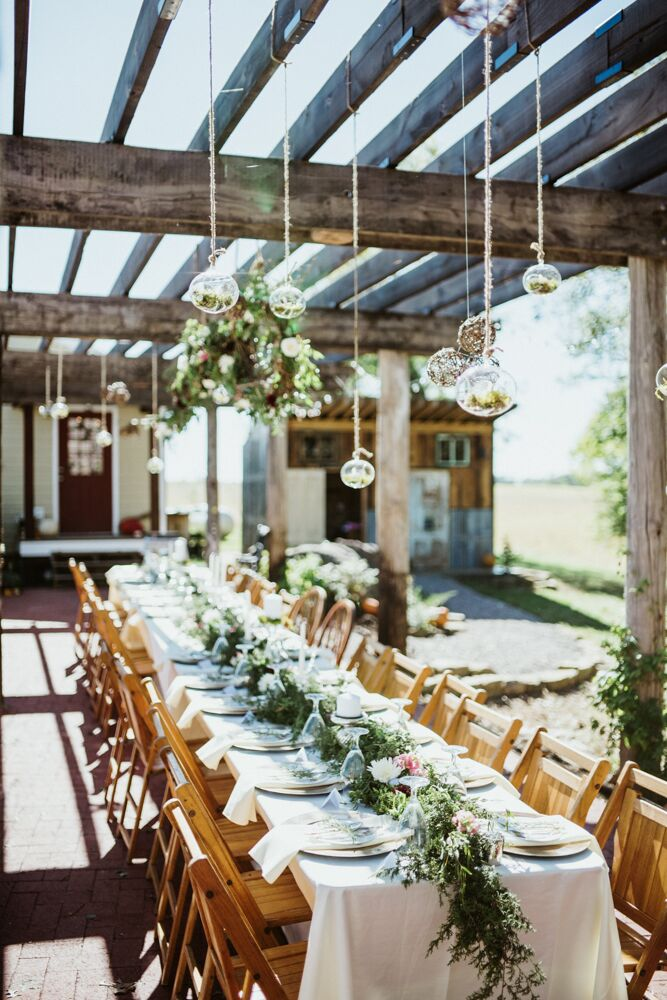 A pergola, fresh greenery and hanging terrariums added visual interest over the head table.
