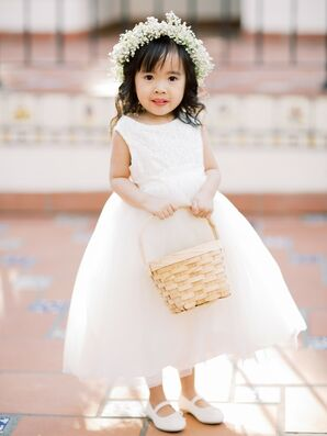 Flower Girl in Tulle Dress for Wedding at Rancho Las Lomas in Silverado, California