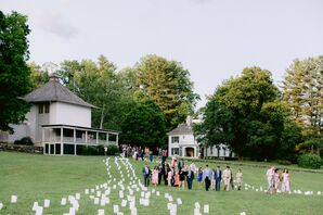 Guests Walking Along Luminaria Path During Berkshires Wedding