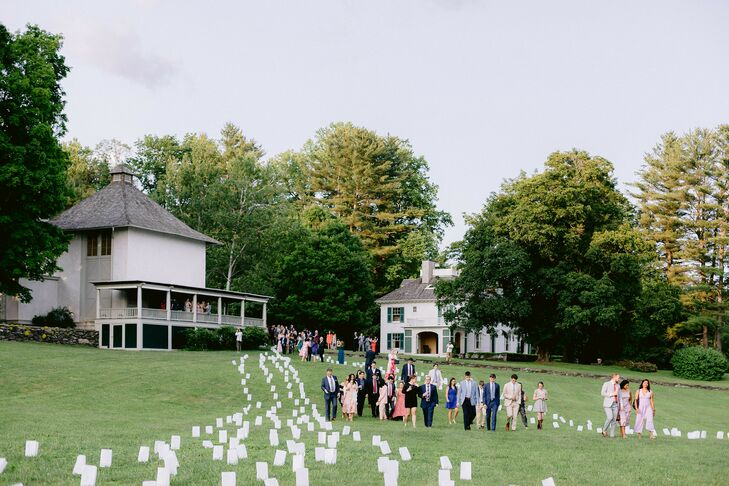 Guests Walking Along Luminaria Path During Berkshires Wedding
