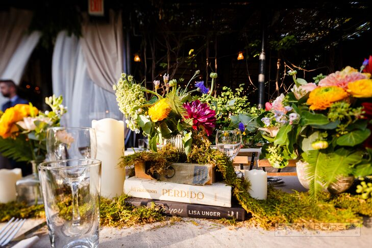 Boho Centerpiece with Books and Moss