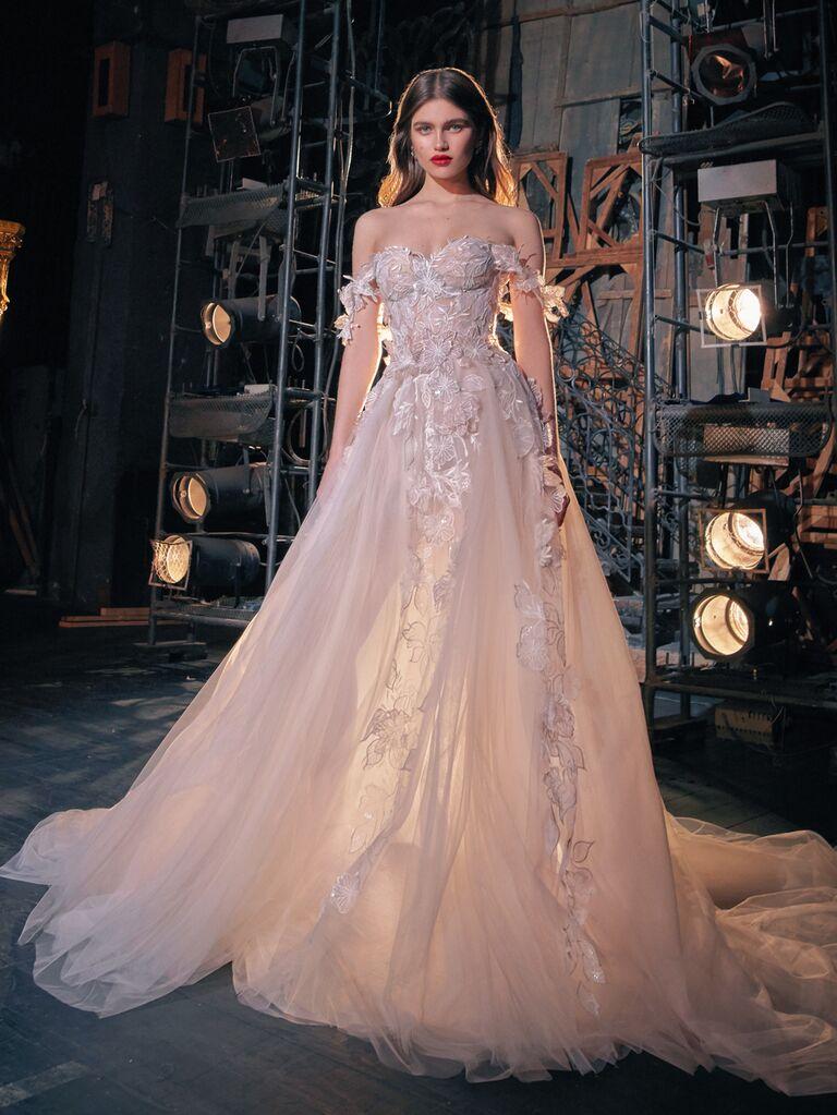 Galia Lahav Spring 2020 Bridal Collection off-the-shoulder wedding dress