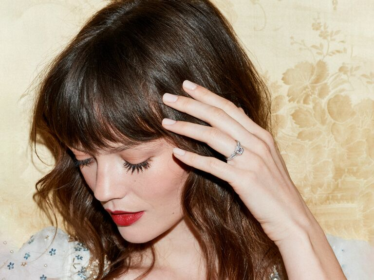 Model wearing Jenny Packham diamond engagement ring