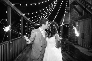 Rustic Patio With String Lights at the Barn at Valhalla