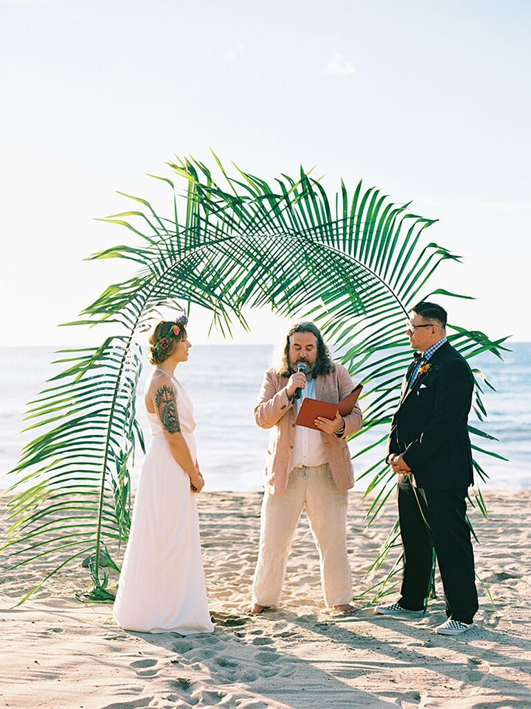 Alternative altar ideas and decorations beach wedding altar idea with large palm tree leaves junglespirit Choice Image