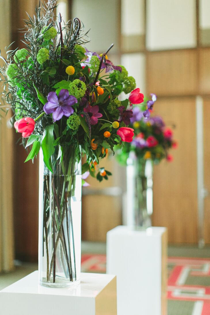 Colorful Flower and Greenery Tall Arrangement