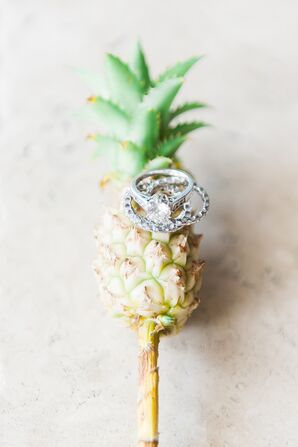 Diamond Wedding Band Displayed on Mini Pineapple