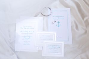 Turquoise Wedding Invitation Suite With Nautical Motifs