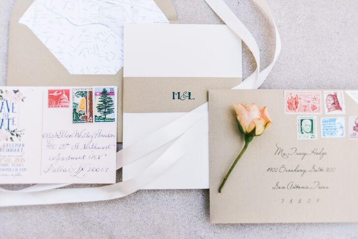 Matching the gift boxes and the menus, the stationery carried the same motif of bright blue, natural brown and white. Delicate light pink flowers and greenery were printed on one side of the save-the-date, while the couple's initials were printed on the outer invitation envelopes.