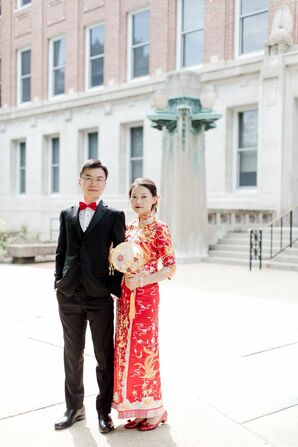 Couple in Red Attire for Wedding at the University of Illinois