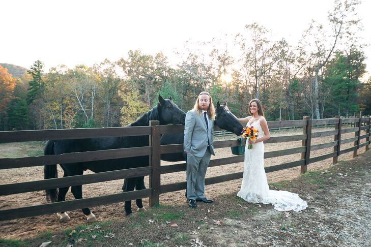 """My southern upbringing inspired my intimate fall wedding,"" says Amy. ""I grew up with horses in a small town called Chelsea, Alabama—it was just simple and southern."""