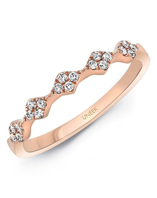 "Uneek Fine Jewelry Uneek ""Mulholland"" Stackable Wedding Band, 14K Rose Gold - LVBWA122R Rose Gold Wedding Ring"