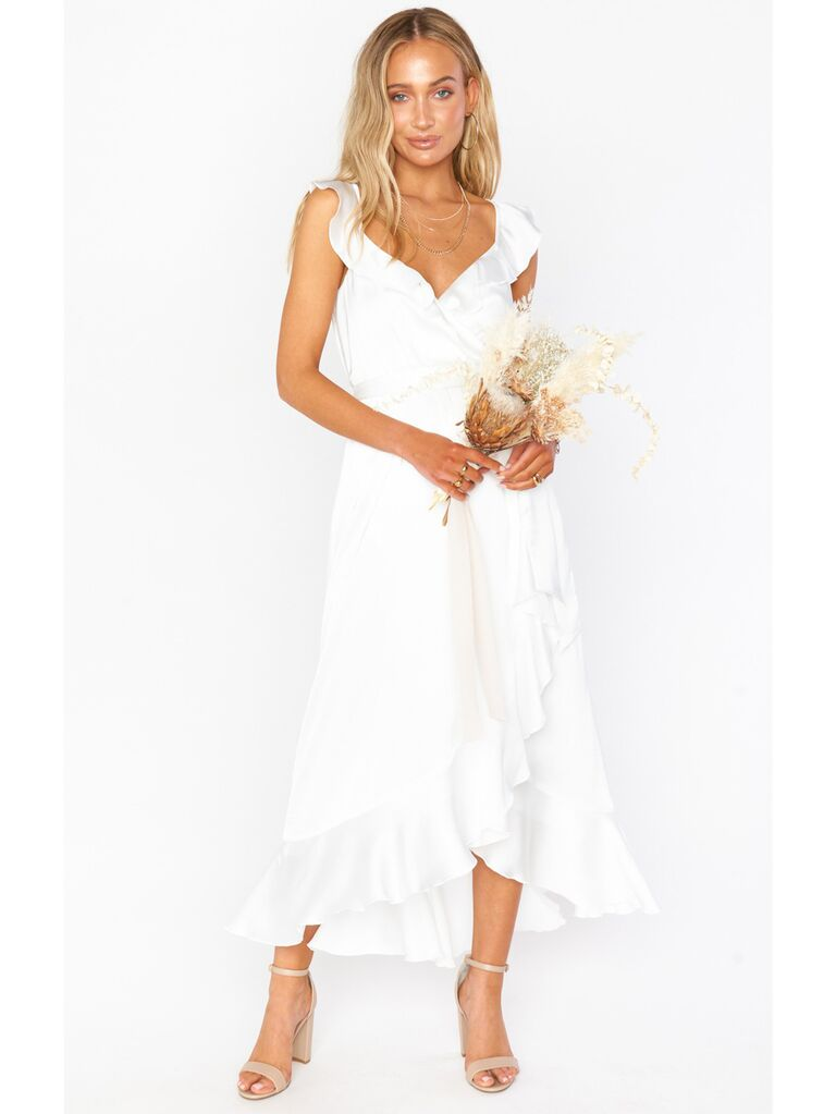 White ruffle wrap dress
