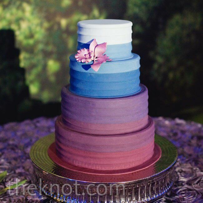 Blue And Purple Ombre Wedding Cake