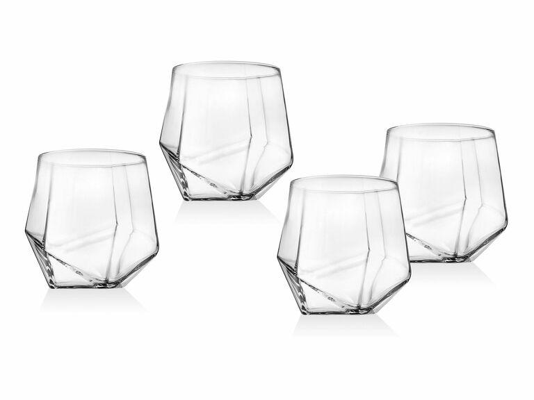set of four hexagonal whiskey glasses
