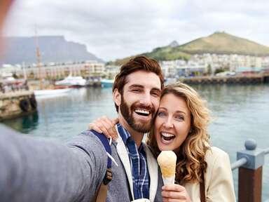 happy couple on their honeymoon