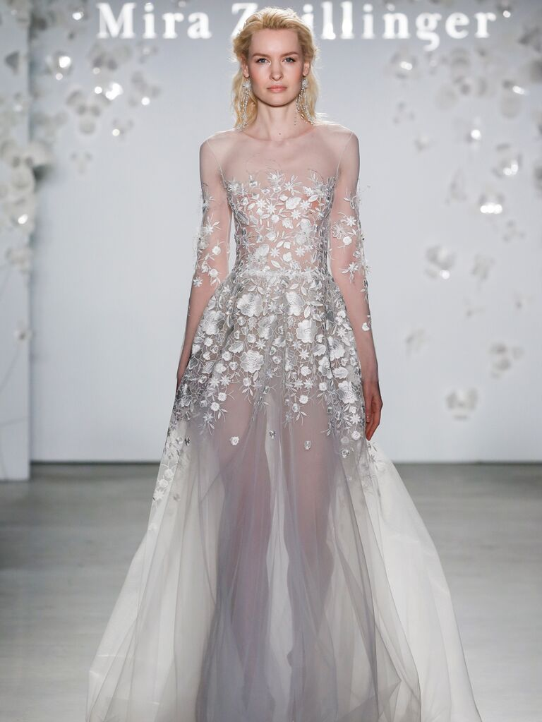 Mira Zwillinger Spring 2020 Bridal Collection sheer wedding dress with floral appliqués