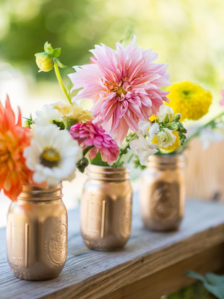 painted mason jar vases gold