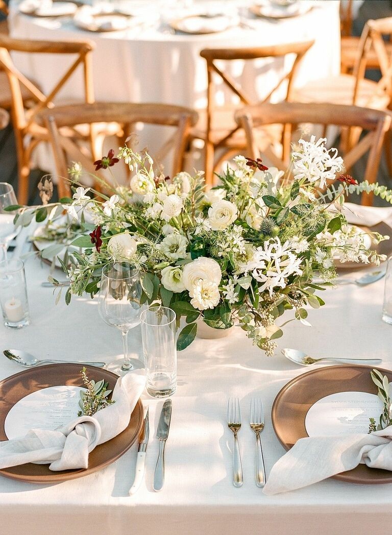 Simple white-and-green floral arrangement