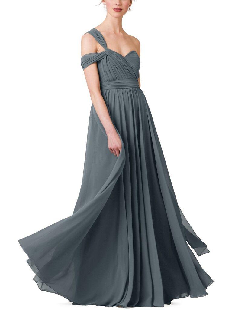 Long blue gray bridesmaid dress