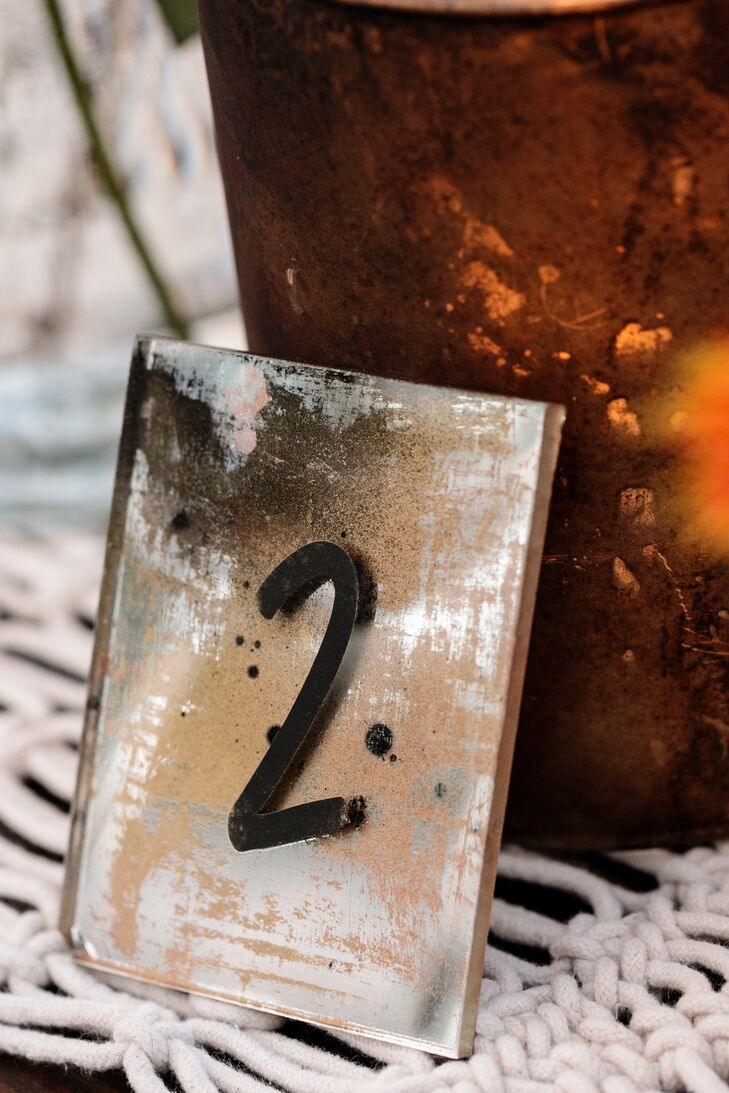 Silver Mirror Table Numbers