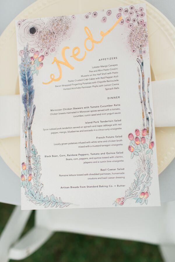 The menu cards echoed the natural setting and featured watercolor florals in soft pastel hues. In lieu of traditional place cards, menus were hand-lettered in gold ink with the name of each guest.