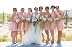 Knee-Length Dusty Rose Bridesmaid Dresses