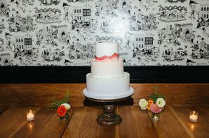 Modern Tiered Wedding Cake with Hand-Painted Pink Design