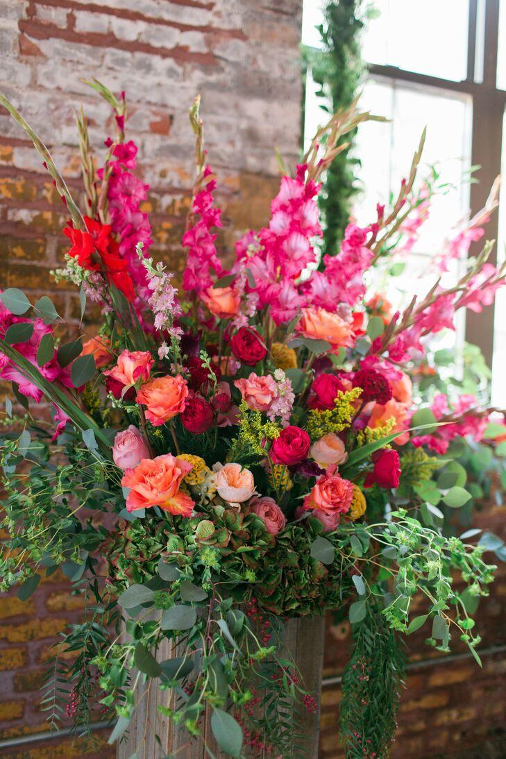 Red and Peach Ceremony Altar Flower Arrangement