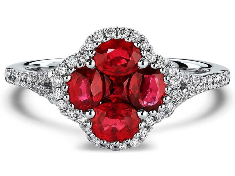 Ruby and diamond clover-shaped engagement ring on split shank band