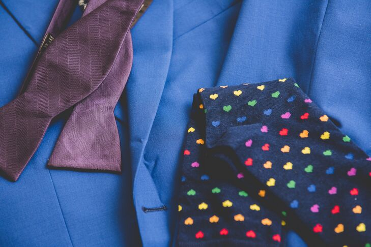 Blue Suit with Purple Tie and Patterned Socks