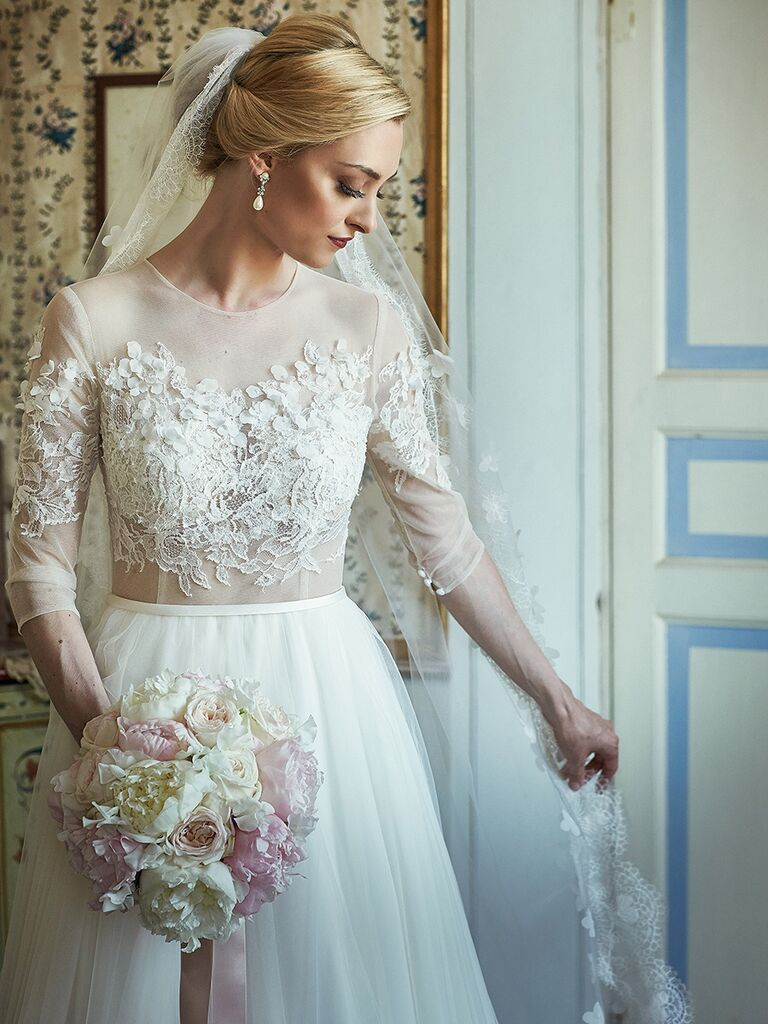 Winter Wedding Dress With Fl And Lace Embroidered Three Quarter Sleeves