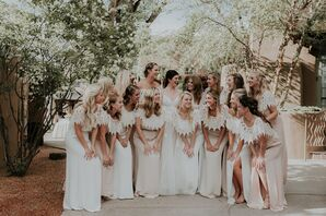 Long Ivory and Blush Bridesmaid Dresses with Crocheted Lace Collars