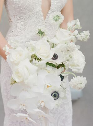 All-White Bouquet with Anemones for Texas Wedding