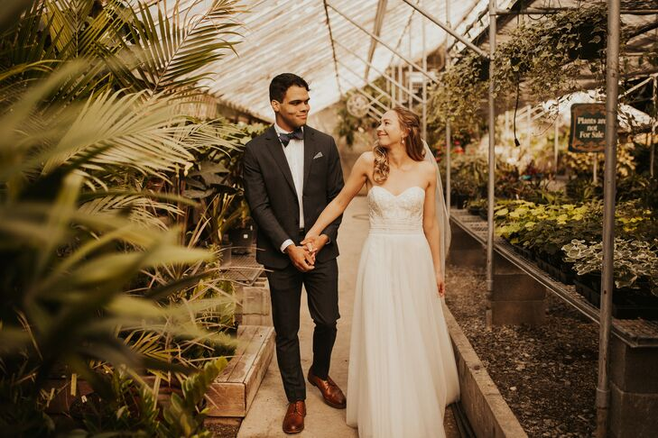 "Anna and Drew Hendrickson chose their venue, Goldner Walsh in Pontiac, Michigan, for its rustic and eclectic style. ""We both love camping and it felt"