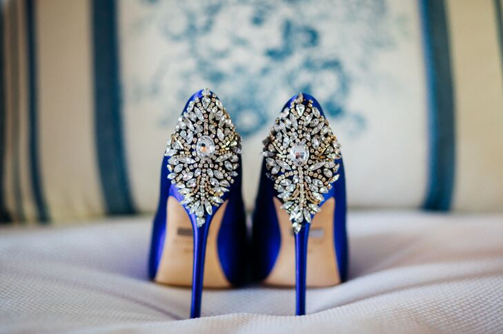 For her something blue, Jamila teamed her elegant mermaid-style gown with royal blue Badgley Mischka pumps with crystal detailing along the back that added a punch of glamour to her down-the-aisle style.