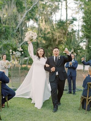 Bride and Groom Recessional at Private Estate in Savannah, Georgia