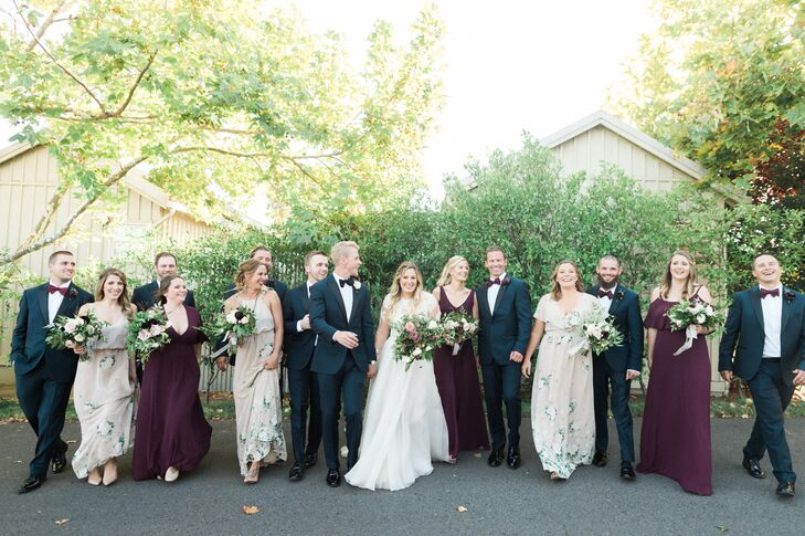 Romantic Wedding Party with Blue Suits and Mismatched Dresses