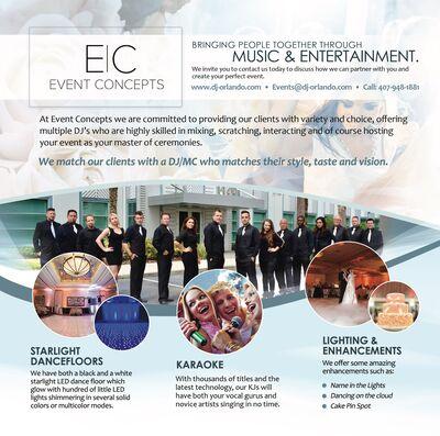 Event Concepts (DJ's, MC's, Lighting, Photo Booth)