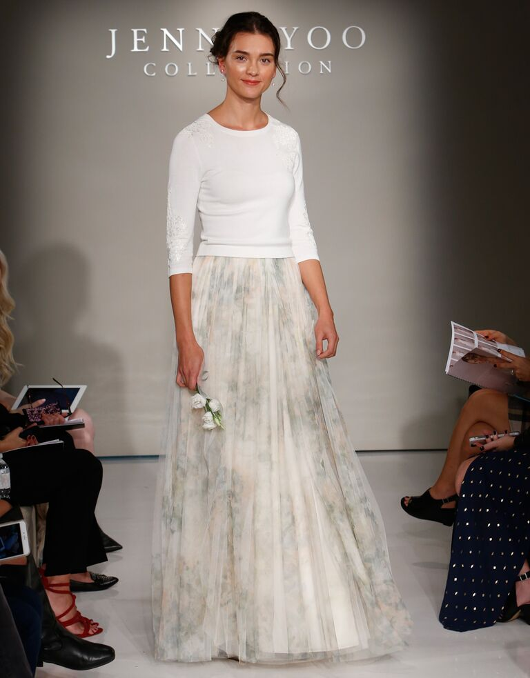 bf1f35e2e5 Jenny Yoo Fall 2016 wedding dress with white sweater and full blush and  grey patterned skirt