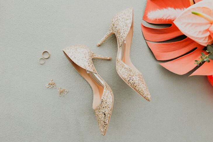 Modern Bridal Shoes with Gold Sequins