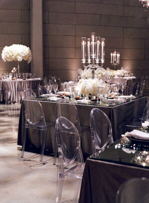 Modern Reception with Candelabras and Ghost Chairs