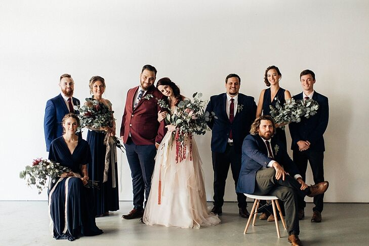 Boho Wedding Party in Navy, Burgundy and Black