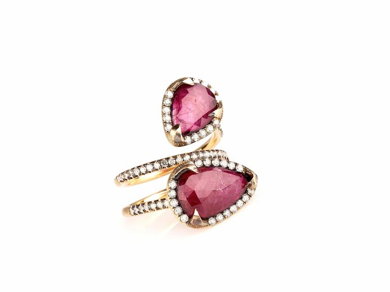 Yellow Gold Ruby & Diamond Bypass ring
