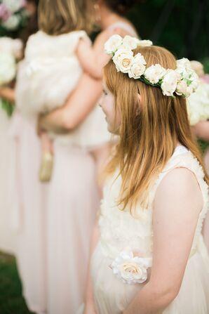 Blush Rose Flower Girl Flower Crown